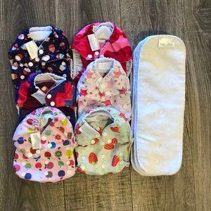 6 Mama Koala Cloth Pocket Diapers w Inserts Girl